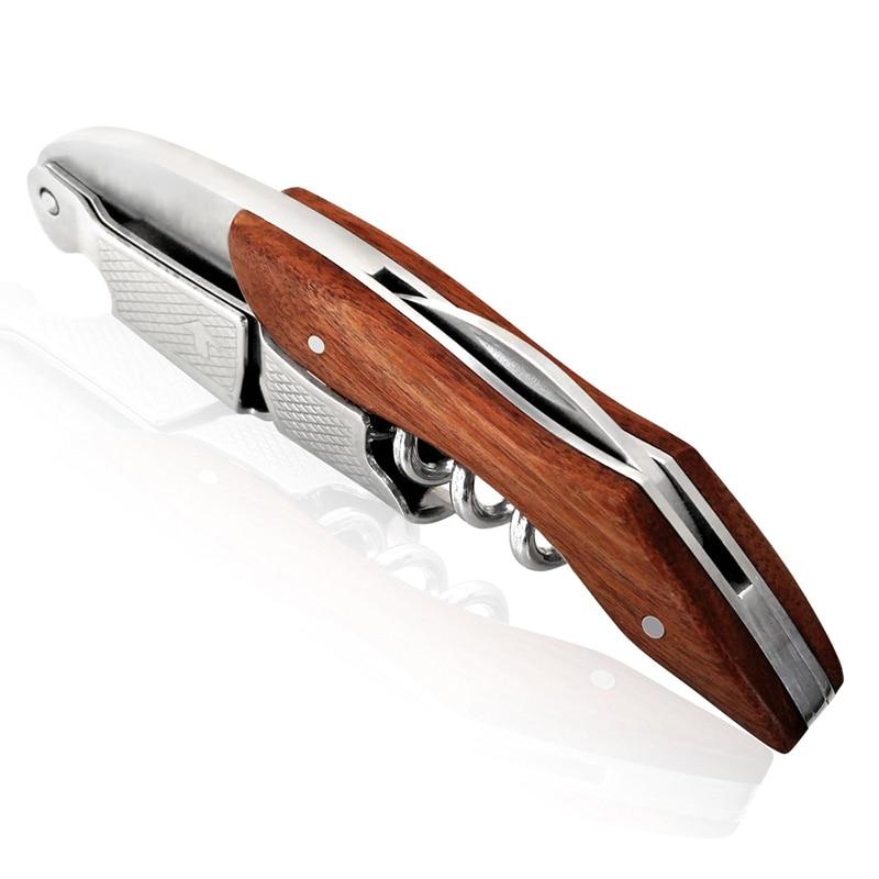 Multi función portátil más nuevo mango de madera profesional vino tornillo sacacorchos...
