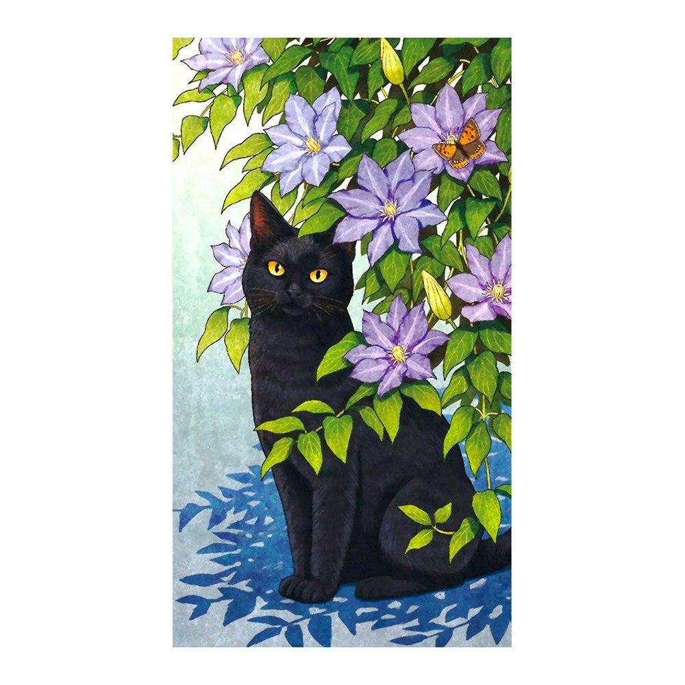 Черная кошка среди клематис пурпурные цветы алмазная картина круглая полная дрель животные цветочные DIY мозаика вышивка 5D Вышивка крестом