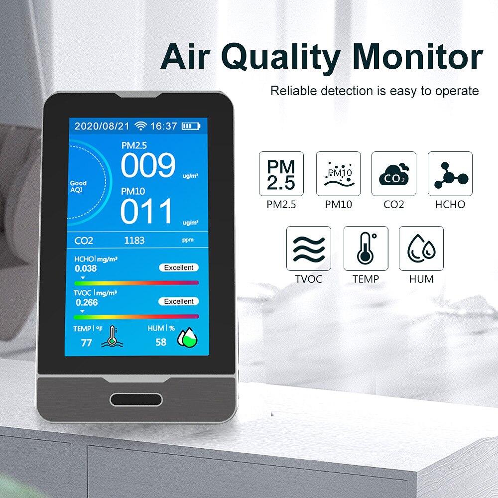 Detector de Gás Monitor de Qualidade do ar Detector de Umidade Wifi Hcho Tovc 4.3 Polegada Display Led Pm2.5 – 5 10 Emperature Ferramenta Dm73b Co2