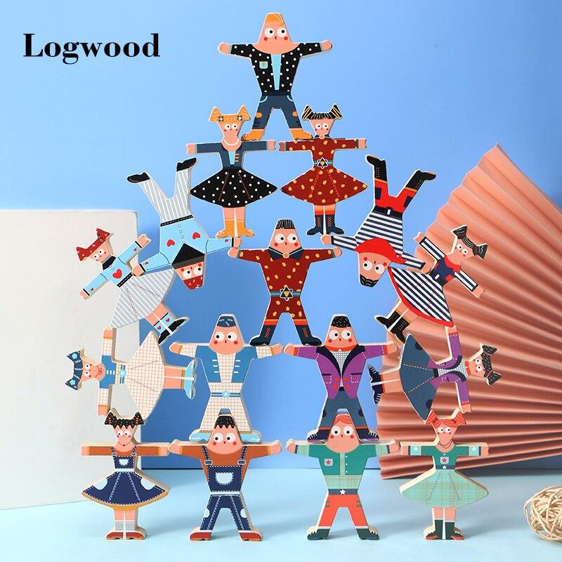 Juguetes de madera multijugador dibujos animados Hércules apilado alto bloques de construcción equilibrio juguetes educación temprana rompecabezas juegos de padres-niños