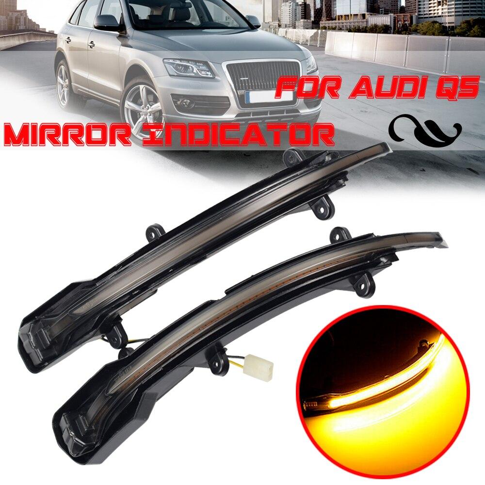 Dinâmica LED Turn Signal Blinker Luz Que Flui Água Flashing Light Para Audi Q5 SQ5 8R 2008-2017 Q7 SQ7 4L Facelift 2009-2015