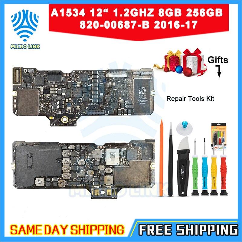 "Placa base genuina A1534 para Macbook 12 ""1,2 ghz 8gb 256GB SSD placa lógica 820-00687-B 2016 2017"
