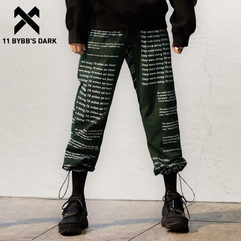 11 BYBB'S الظلام الحريم السراويل البضائع رسالة مطبوعة رجالي Harajuku الهيب هوب ملابس الشارع الشهير ركض بنطلون Sweatpants الذكور 2019