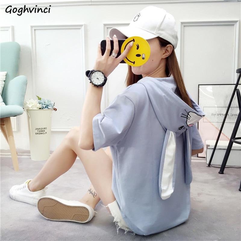 Camisetas para mujer de dibujos animados Kawaii, Sombrero de conejo bordado, simples, con capucha, a la moda, camisetas rosas de primavera y verano para mujer, camisetas de estilo coreano para mujer