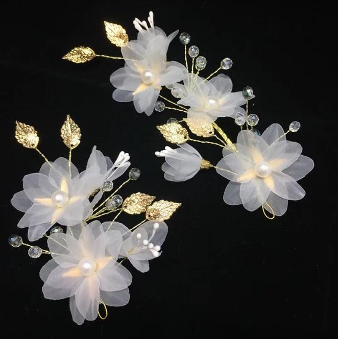 2 uds. Estilo de flor rosa claro tiara novia adorno de novia...