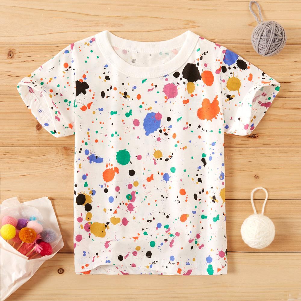 PatPat 2020 новое летнее платье для маленьких для мальчиков и девочек, детская одежда, одежда для малышей цветная окрашенное брызгами краски футболка хлопковые топы с коротким рукавом|Тройники| | АлиЭкспресс