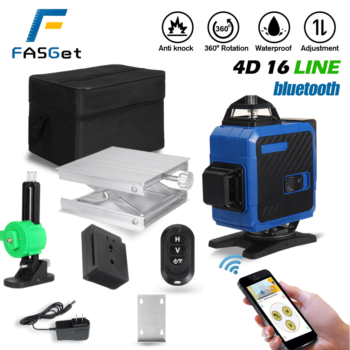 FASGet 16 خطوط 4D مستوى الليزر خط التسوية الذاتية 360 الأفقي والرأسي بلوتوث التحكم مستوى الليزر شعاع مستوى الليزر