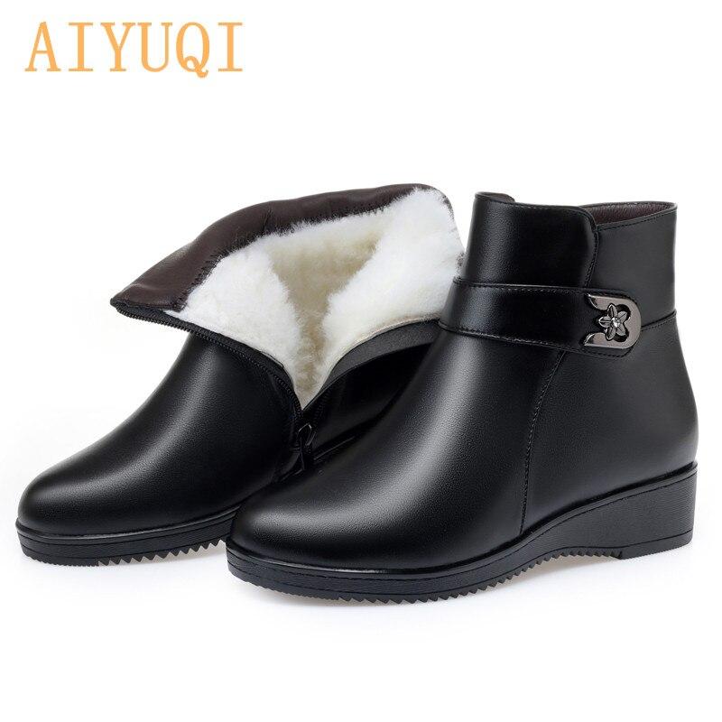 Aiyuqi 2020 Nieuwe Lederen Moeder Laarzen In Snowboots Vlakke Antislip Vrouwen Winter Laarzen Grote Maat 41 42 43 Enkellaarsjes Vrouwen