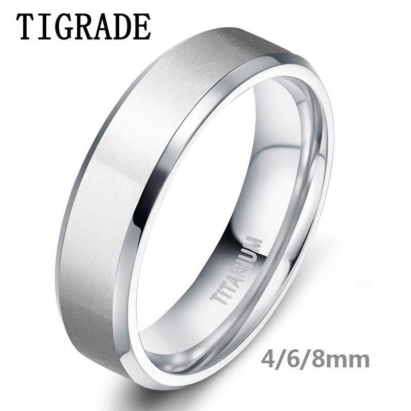 Tigrade/8/6/4mm Color de plata de los hombres de titanio anillo hombre banda de boda Anillos De Compromiso hombre joyería anel feminino