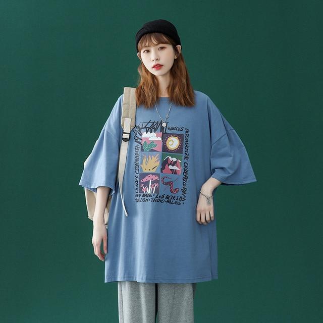 Oversized T-shirt Women 100% Cotton Short Sleeve Unisex O-Neck Tshirt Fashion Casual Harajuku Plus Size Tees 2021 punk clothes 4