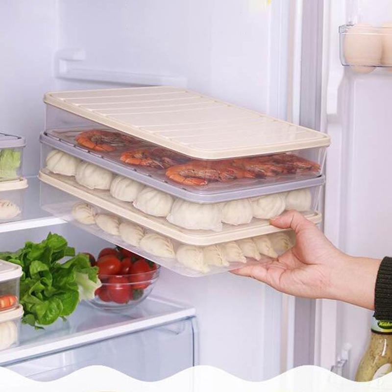 Refrigerator Food Storage Container with Lid Sealed Crisper Food Fresh Keeping Egg Fish Storage Box Fresh Spacer Organizer