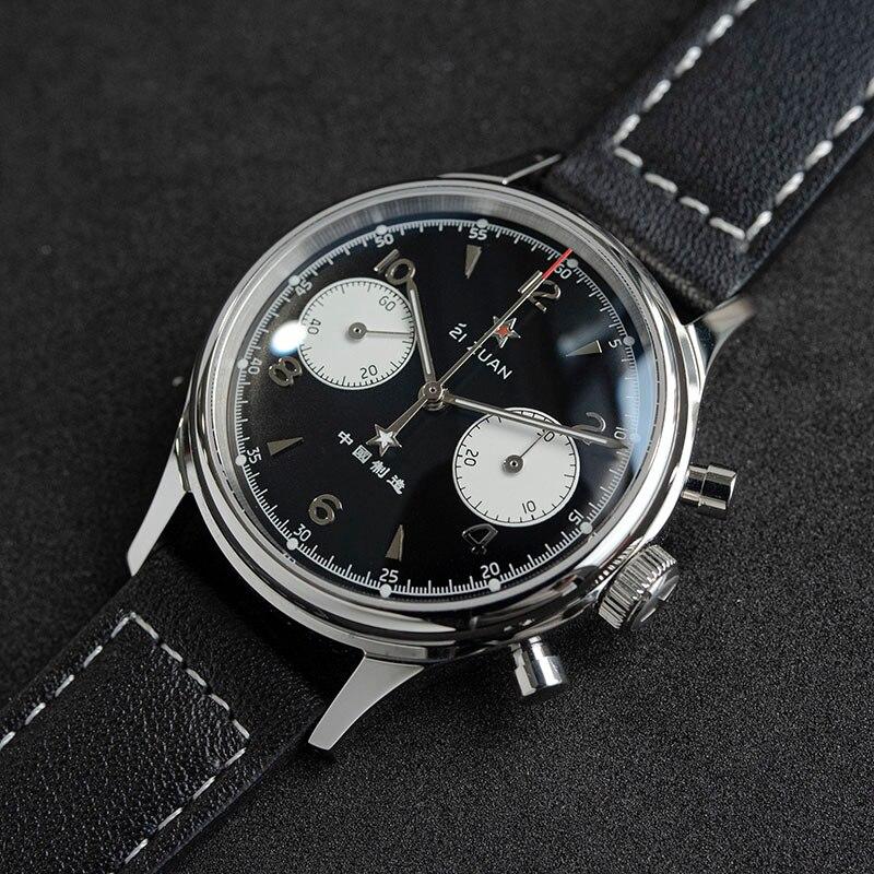 Men's Sugess 1963 Pilot Chronograph Mechanical Watches Seagull Movement st1901 Dial Sapphire Watch F