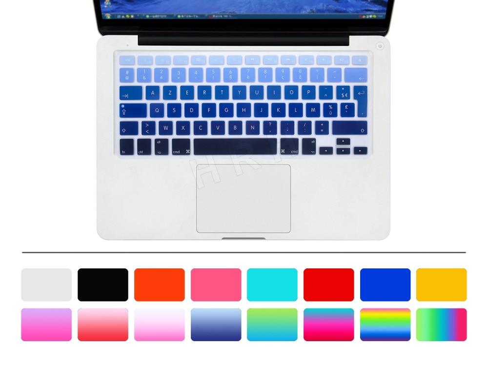 "HRH EU/UK impermeable Arco Iris francés AZERTY teclado de silicona cubierta de la piel Protector para Macbook Air Pro Retina 13 ""15"" 17"""
