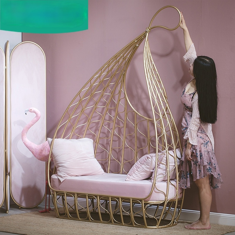Специальный дизайн; Обувь для отдыха; Nordic диваны Железный дизайнерский диван кресло Современные тканевые стулья Гостиная мебель один ленив...