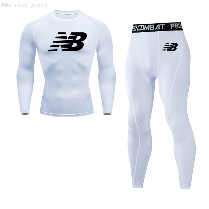 Men's Thermal T-shirt Pants 2 piece Tracksuit Thermal underwear Winter Sports Long johns Compression