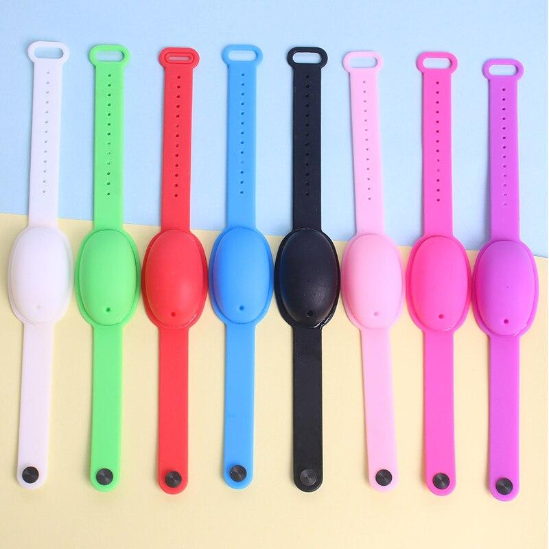 Squeeze sanitizer silicone pulseira para adultos e crianças mão dispensador de álcool bomba portátil wearable pulseira