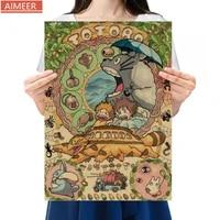 AIMEER     affiche en papier kraft retro  35x51cm  Hayao Miyazaki  Anime mon voisin Totoro  classique nostalgique  decoration de la maison