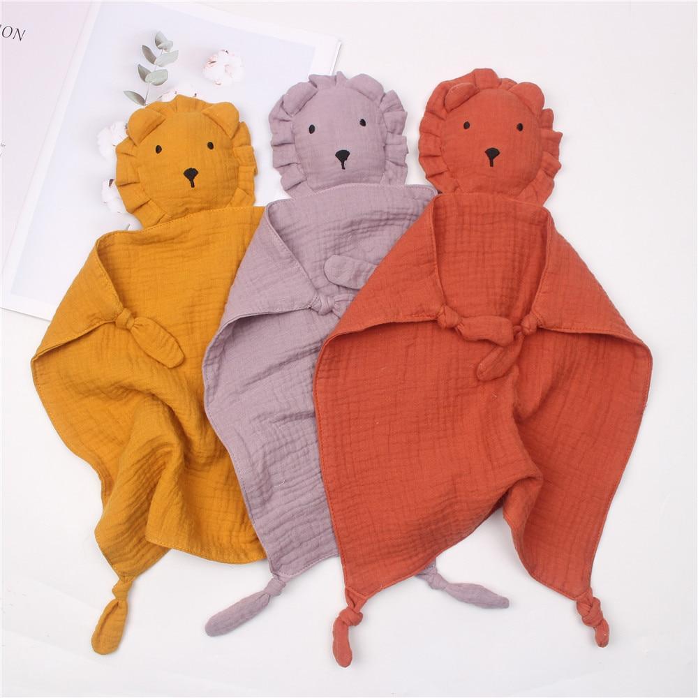 Soft 100% Organic Cotton Muslin Baby Security Comforter Blanket Newborn Lion Sleeping Dolls Kids Fashion Soothe Appease Towel