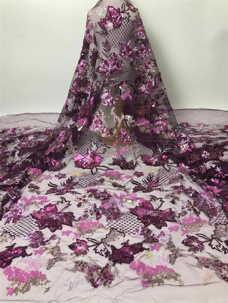 PGC النيجيري الترتر أقمشة الدانتيل الزفاف الفرنسية الأفريقي أقمشة الدانتيل 2021 شمسيّة دانتيل عالية الجودة 5 ياردة للحزب فستان NI5310-6