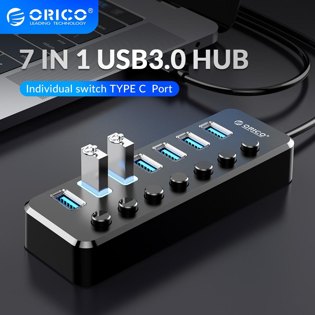 ORICO-Adaptador de concentrador USB 3,0, multipuerto, tipo C, interfaz de ordenador, 4/7...