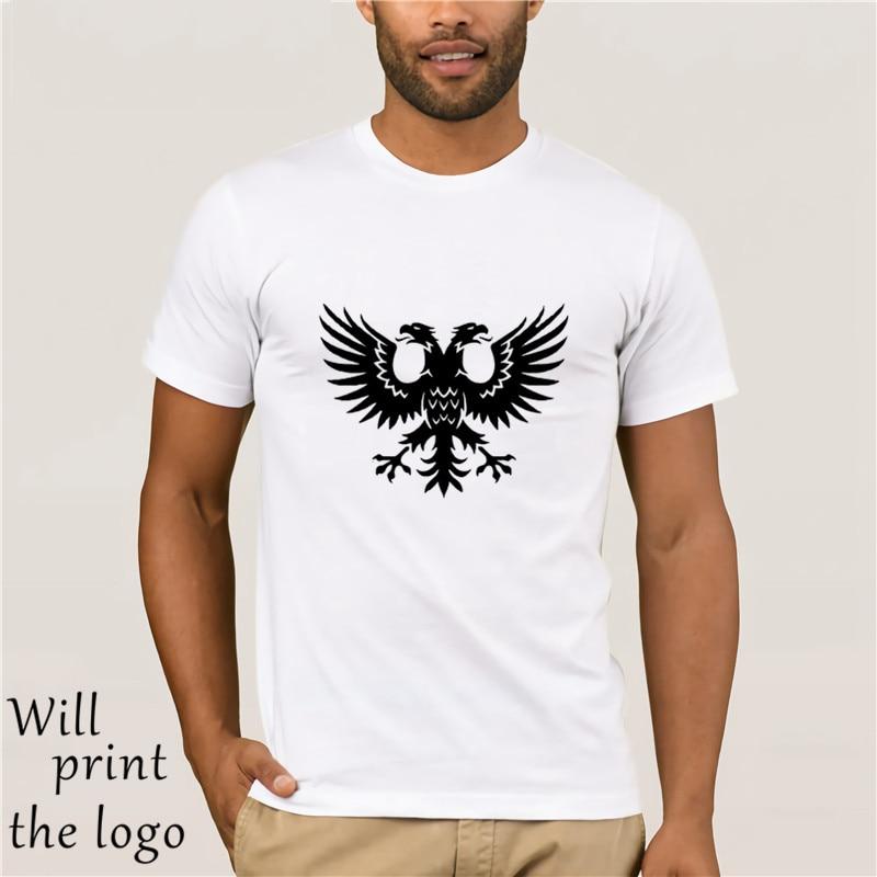 Camiseta para hombre, camisetas con estampado de 100% de algodón, emblema de águila de dos cabezas para hombre, camiseta de Rusia, Serbia, Albania, Albania, camiseta