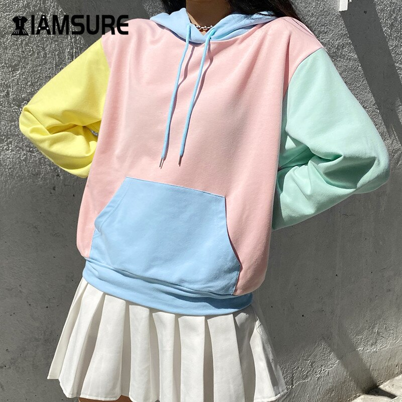 IAMSURE Oversized Hoodie For Women 2020 Autumn Winter Fashion Macaron Colorblock Kpop Streetwear Casual Loose Female Sweatshirt