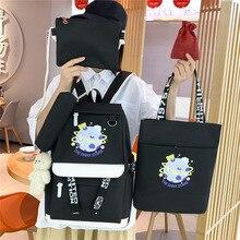 4 Pcs Sets Canvas Schoolbags For Teenage Girls Women Backpack School Kids Primary School Bag College