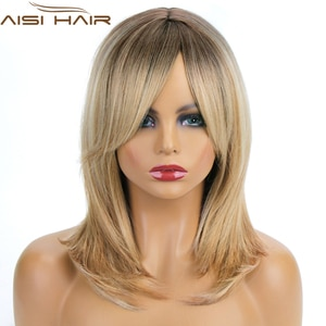 AISI HAIR Synthetic Wigs Long Straight Layered Hairstyle Ombre Black Brown Blonde Gray Ash Full Wigs with Bangs for Black Women