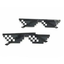 Пиксельные очки Thug Life популярный стиль мозаика популярный логотип индивидуальность сетки квадратные мужские солнцезащитные очки