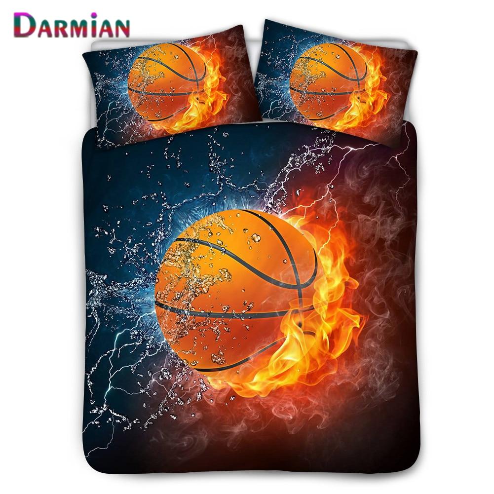 دارميان لهب كرة السلة نمط نوم حاف الغطاء بما في ذلك المخدة واحدة/مزدوجة الديكور بنين غرف ثلاث قطع مجموعة