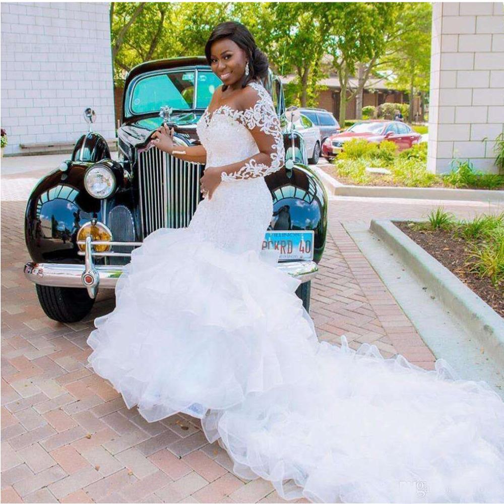 New big tailed Mermaid Wedding Dress round neck luxury lace bandage bridal gown color mesh Robe de mariée custom платье невесты