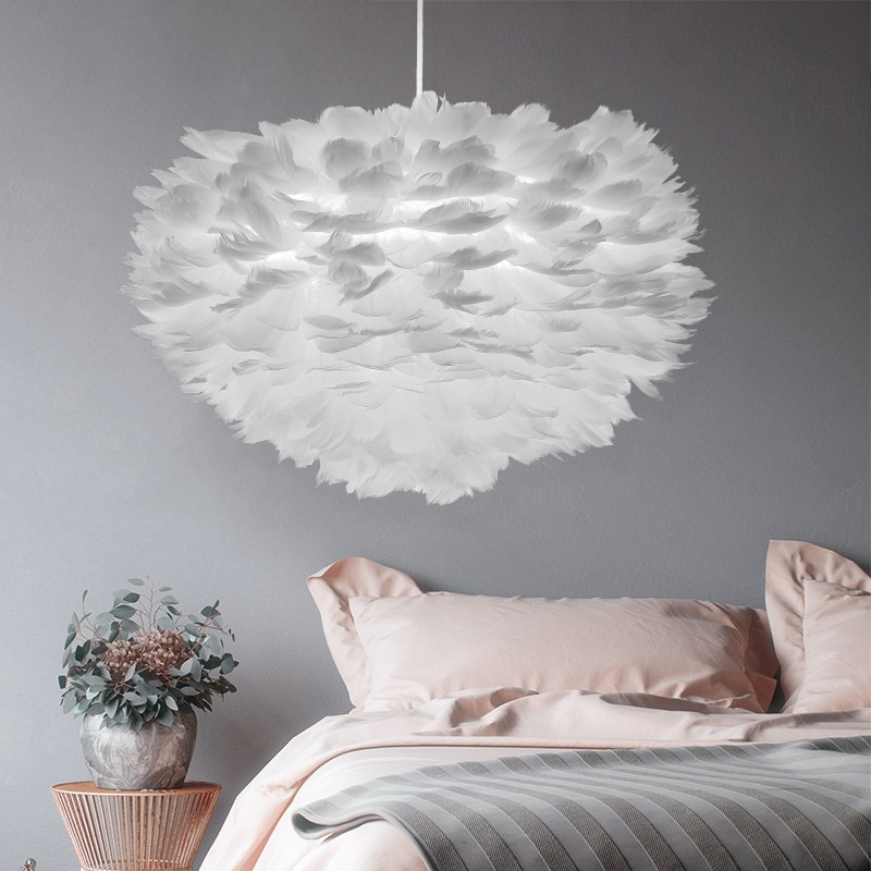 مصباح معلق Led بتصميم إسكندنافي حديث مع ريش ، إضاءة زخرفية داخلية ، مثالي لغرفة المعيشة أو غرفة النوم أو طاولة السرير.