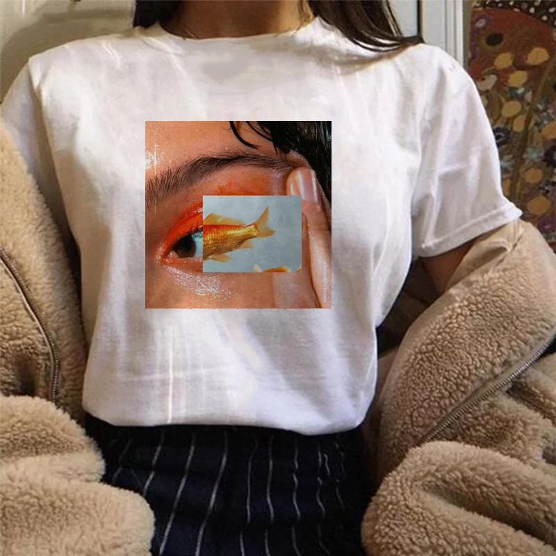 Peixe olhos t mulheres harajuku estética tshirt hip hop moda tumblr gráfico grunge camiseta streetwear tops femme outfits
