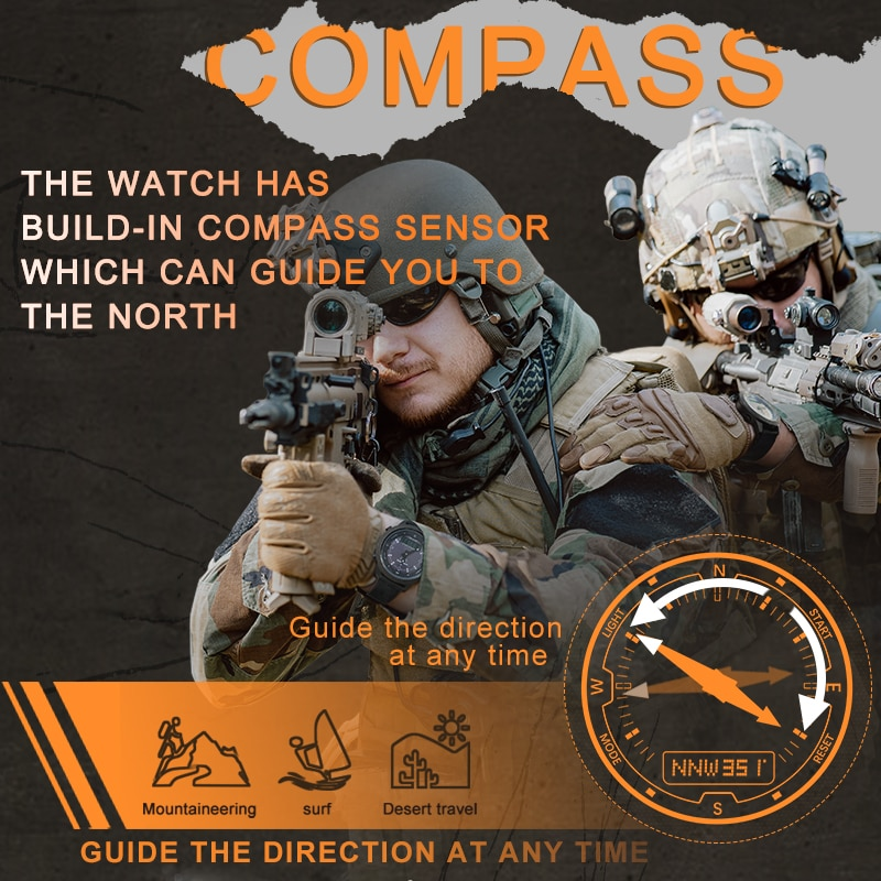 NORTH EDGE Men Solar Power Digital Watch Men's Outdoor Smart Watches Full Metal Waterproof 50M Compass Army Military Style Clock enlarge