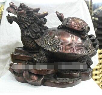 Envío Gratis <16 Cultura Popular China estatua de bronce hecha a mano dragón tortuga dinero