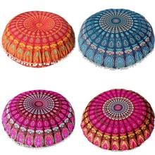 Housse ronde de coussin de méditation style bohémien   Coussin de sol, motif Mandala, 80*80cm, tapisserie, étuis наволочка