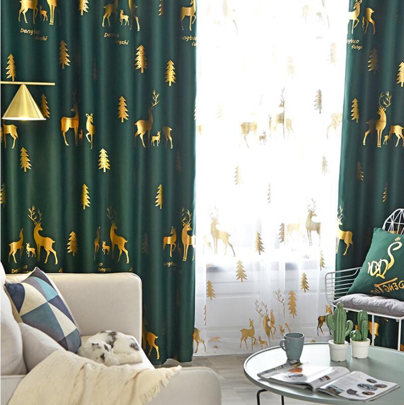 Telas de cortina de ventana de tela verde de lujo pura Navidad ciervo copo de nieve tul dorado para sala de estar cortinas para dormitorio