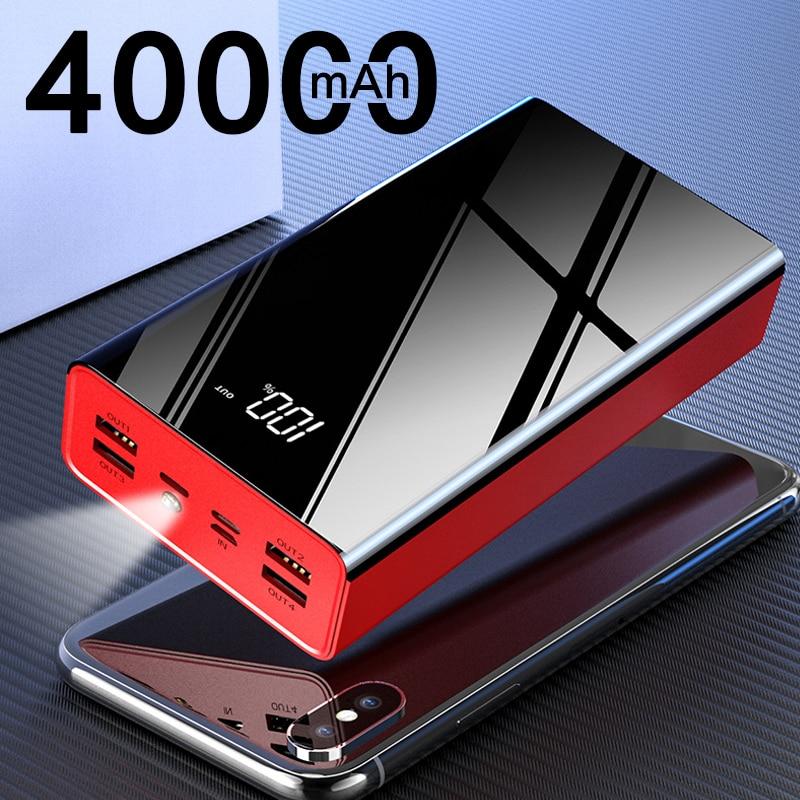 40000mAh banco de energía portátil para Xiaomi mi 4 USB carga rápida Powerbank mi rror pantalla PoverBank cargador de batería externo