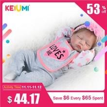 KEIUMI 22inch 55cm Lifelike Reborn Doll Soft Silicone Realistic Sleeping Girl Princess Lovely Baby Dolls For Kid Birthday Gift