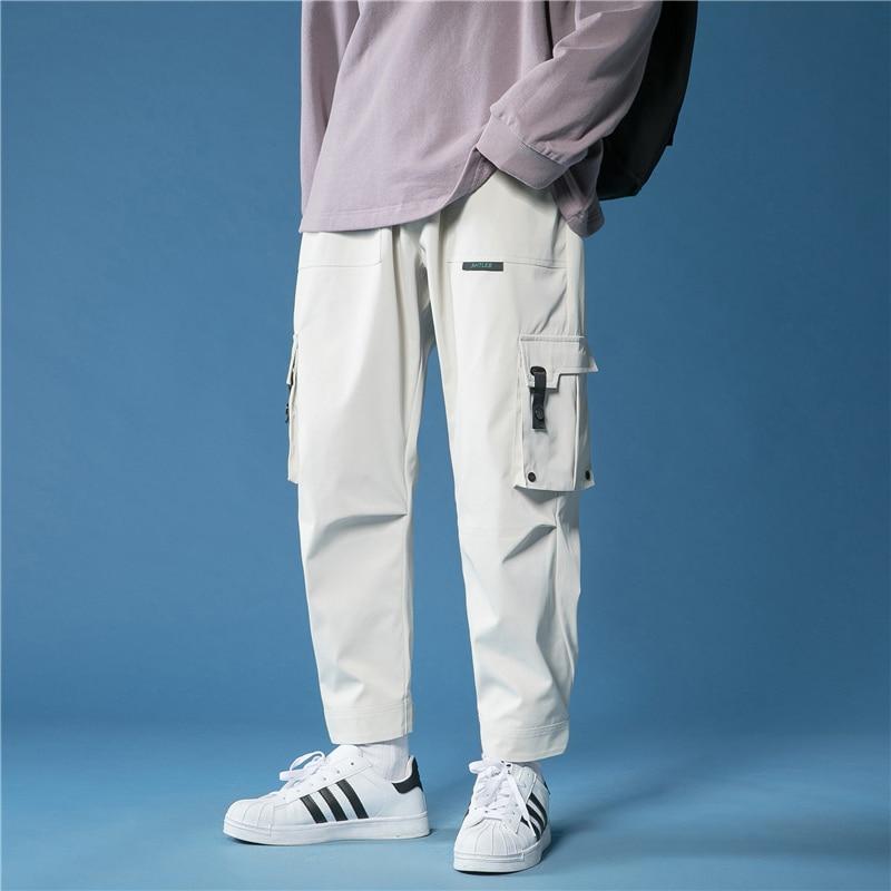 2021 New Men Cargo Pants Hip Hop Harem Multi-Pocket Korean Designer Sweatpants Streetwear Casual Car