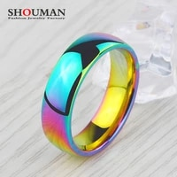 shouman 6mm rainbow colorful smooth surface rings for women trendy cute stainless steel wedding bands jewelry