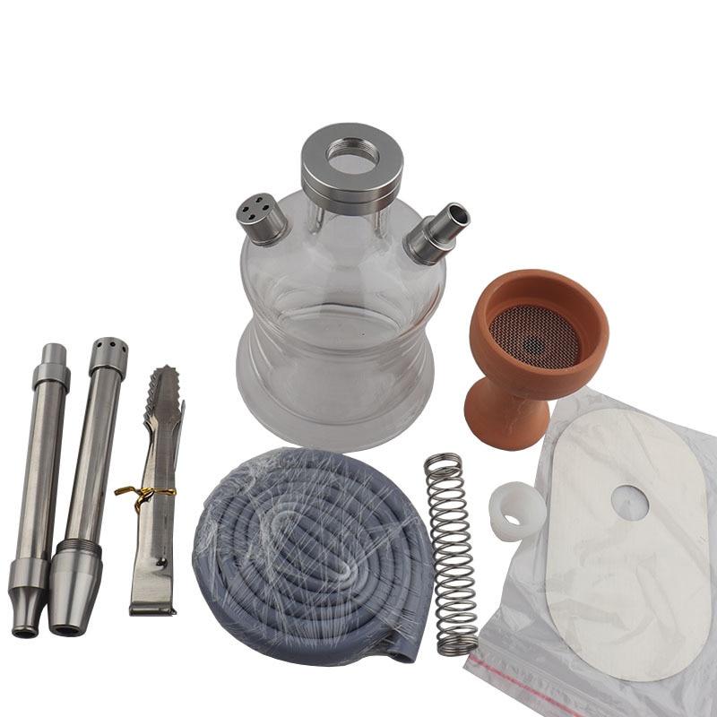 Convenient Travel Arabic Hookah Set With Bag Stainless Steel Shisha Glass Pot Chicha Nargile Shisha Accessories enlarge