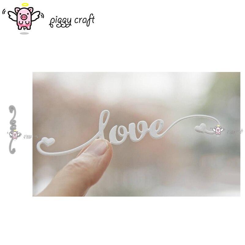 Piggy Craft metal cutting dies cut die mold Love letter heart strip Scrapbook paper craft knife mould blade punch stencils dies