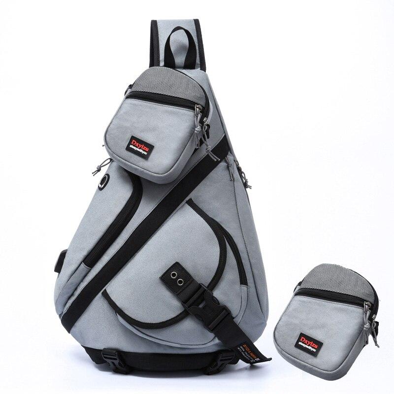 NANCY TINO Men's Single Shoulder Bag 2 In 1 Detachable Waterproof Travel Slanted Cross-Body Backpack Women USB Charging Bag