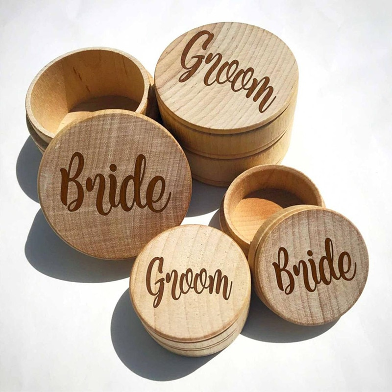 Grabado Mr Mrs anillo titular personalizado caja de anillo conjunto de 2 novia novio rústico de madera caja para guardar anillos baratija caja de joyería