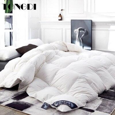 TONGDI الحديثة الفاخرة المنسوجات المنزلية سوبر الدافئة لينة سميكة لحاف بطانية Eiderdown 95% أوزة أسفل القطن الخالص للنوم الشتاء