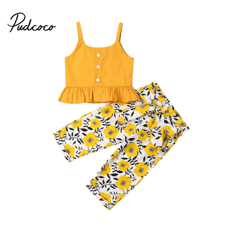 Pudcoco 2020, 2 uds., estampado Floral para niños pequeños, conjuntos de verano para niñas, ropa Crop Tops + Pants, conjunto de ropa a la moda, 6-4 años
