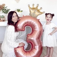 2pcs number crown foil balloons 1st birthday kid boys girls happy birthday anniversary baby shower party decoration supplies