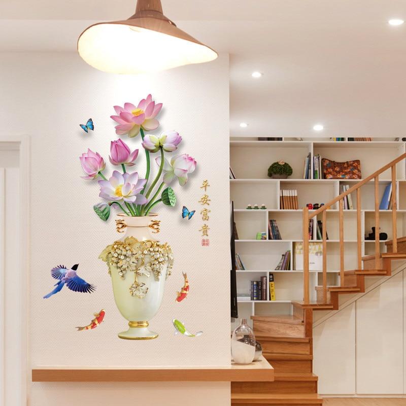 Florero de plantas, pegatinas de pared DIY, calcomanía de palabras China rico en paz, decoración del hogar, sala de estar, cocina, dormitorio, papel tapiz