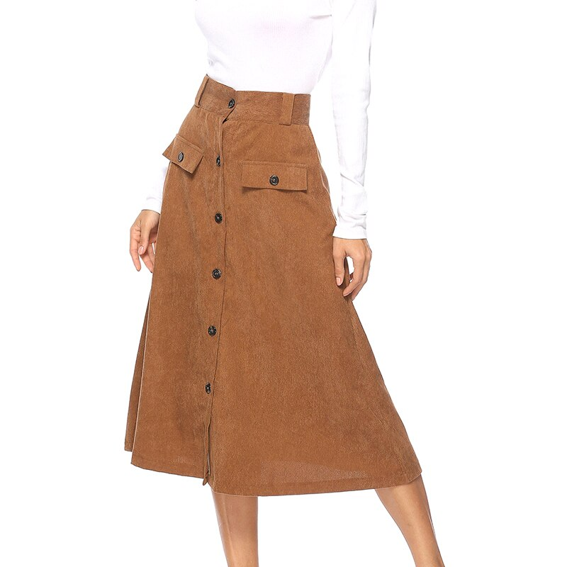 Women Skirt Spring Buttons Fake Pocket A Word Skirt Dark Coffee Color Elegant Skirts